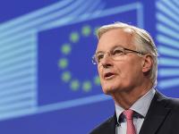 Hlavný vyjednávač EÚ pre brexit Michel Barnier reční o brexite v sídle EÚ