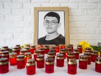 Na snímke portrét zavraždeného investigatívneho novinára Jána Kuciaka v budove redakcie portálu Aktuality.sk v Bratislave.