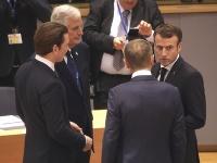 Sebastian Kurz, hlavný vyjednávač EÚ pre brexit Michel Barnier, francúzsky prezident Emmanuel Macron a predseda Európskej rady Donald Tusk.