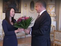 Prezident Andrej Kiska privítal Hedvigu Malinovú Žákovú.