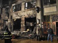 Na snímke Roland café po požiari na Hlavnom námestí v Bratislave.