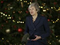 Britská premiérka Mayová počas svojho prejavu po vyjadrení dôvery parlamentom.