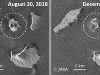 Rozdiel vo veľkosti vulkánu Anak Krakatau pred jeho posledným výbuchom a po ňom.