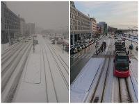 V utorok v Bratislave husto snežilo, v stredu svietilo slniečko.