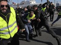 Protesty taxikárov v Barcelone