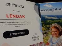 Certifikát, ktorý získala obec Lendak ako prvá na Slovensku.