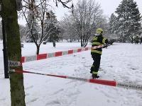 Mokrý sneh lámal v Prahe stromy.