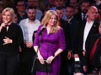 Zuzana Čaputová na pódiu počas ďakovnej reči