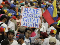Demonštranti vo Venezuele