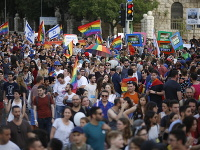 Gay pride pochod v Jeruzaleme.
