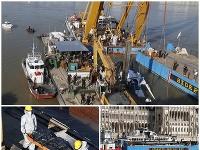 Vrak potopenej výletnej lode Hableány pri Margitinom moste na rieke Dunaj v Budapešti bol 11. júna 2019 vytiahnutý.