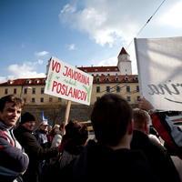 Protest pre parlamentom za zrušenie VO Javorina