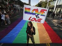 Pochod sexuálnych menšín v Belehrade.