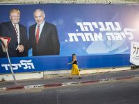 Benjamin Netanjahu a Donald Trump na predvolebnom bilborde v Izraeli