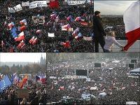 Na dnešnom proteste je zatiaľ podľa odhadov polície ČR vyše 200-tisíc ľudí