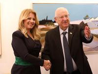 Slovenská prezidentka Zuzana Čaputová a izraelský prezident Reuven Rivlin počas stretnutia v Jeruzaleme.