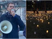 Matovičovci pred Úradom vlády zapálili tisíce sviečok