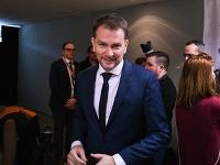 Predseda hnutia Obyčajní ľudia a nezávislé osobnosti (OĽANO) Igor Matovič prichádza na povolebnú diskusiu víťazov volieb