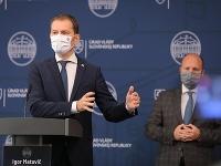 Predseda vlády SR Igor Matovič, minister zdravotníctva SR Marek Krajčí a minister obrany SR Jaroslav Naď.