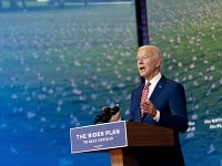 Prezidentský kandidát Joe Biden počas príhovoru vo Wilmingtone