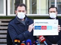 Igor Matovič ukazuje výsledky sobotného testovania.