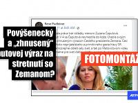 Tisíce používateľov Facebooku vo februári 2021 zdieľali fotografiu, na ktorej slovenská prezidentka Zuzana Čaputová vrhá na českého prezidenta Miloša Zemana