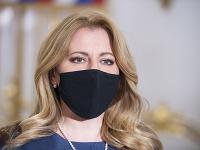 Prezidentka SR Zuzana Čaputová počas tlačového vyhlásenia po stretnutí so zástupcami koaličných strán Za ľudí a SaS