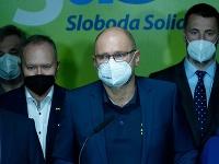 Tlačová konferencia predstaviteľov strany SaS