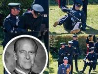 Vojaci sa na pohrebe princa Philipa neudržali na nohách.