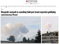 Požiar muničného areálu v českých Vrběticiach a titulok z poľského denníka.