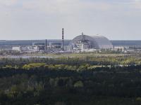 Letecký pohľad na jadrovú elektráreň v Černobyle