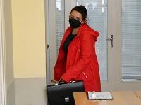 Na snímke exposlankyňa Natália Blahová po prerušení súdneho pojednávania v kauze Čistý deň na Okresnom súde v Trnave