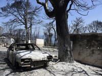 Následky požiaru v Grécku