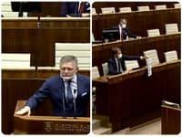 Robert Fico bol nakrátko prerušený v rozprave transparentom Igora Matoviča.