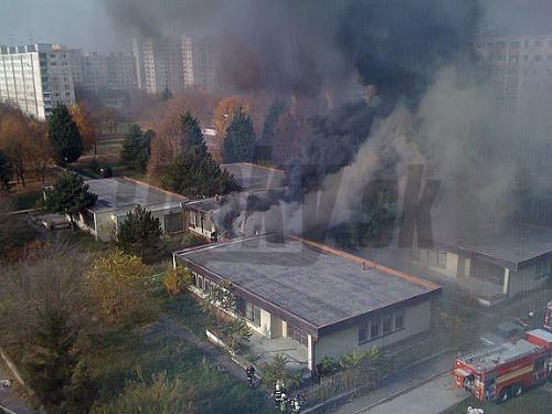 Požiar bývalej školy na