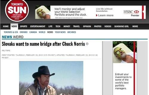 30266ca20 Chuck Norris k nám príde krstiť vlastný most: Ak dostaneme súhlas ...
