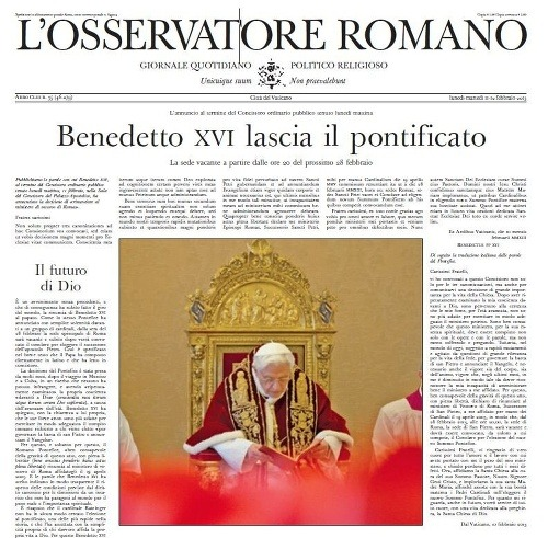 Titulka vatikánskych novín Osservatore