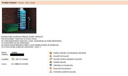 Jedinečný inzerát  Slovák na internete predáva stroj času!  fb3169cb49f