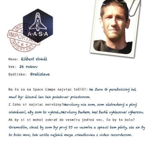 Robo (26) zastupuje Slovensko