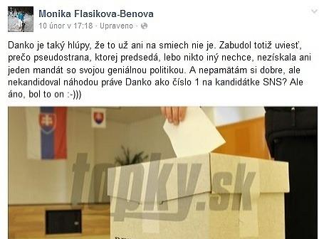 Flašíková vysmiala šéfa SNS,