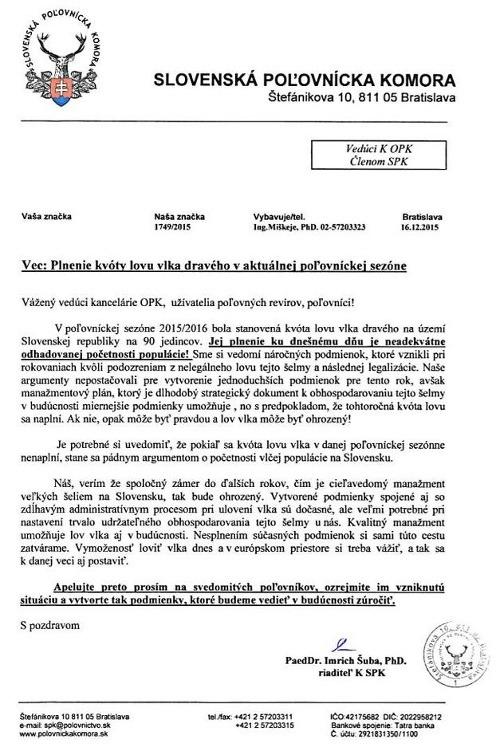 Zvrhlá výzva slovenských poľovníkov: