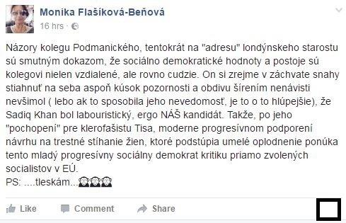 Status Moniky Flašíkovej-Beňovej