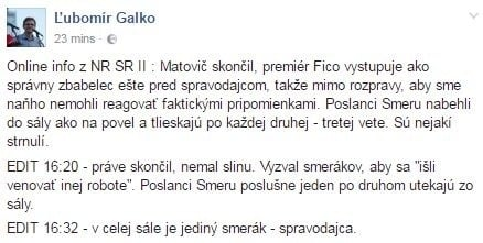 Status Ľubomíra Galka