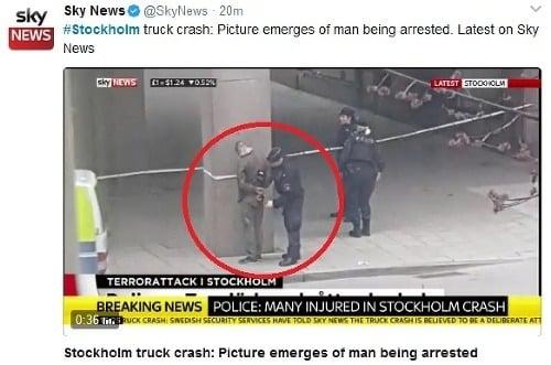 Švédska polícia zatýka podozrivého.