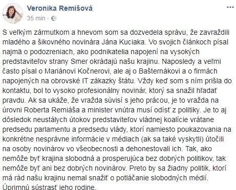 Status Veronika Remišovej