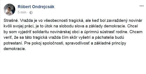 Status Róberta Ondrejcsáka