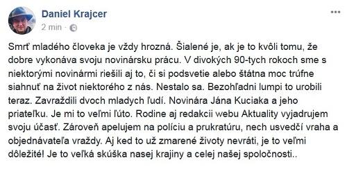 Status Daniela Krajcera