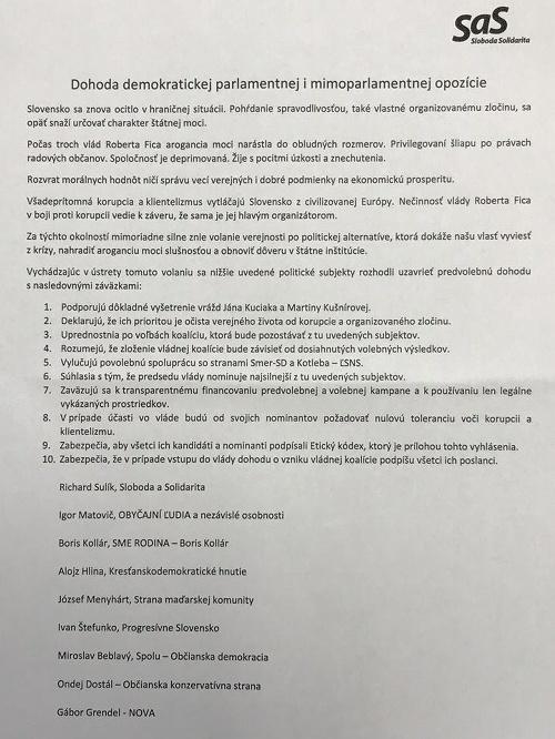 Opozičná dohoda, ktorú navrhuje