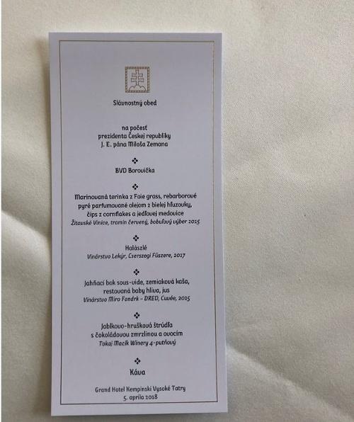Obedové menu prezidentov.