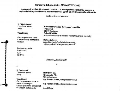 Kópia zmluvy medzi ministerstvom
